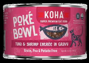 Koha Cat Poke Bowl Tuna & Shrimp Entrée in Gravy Wet Cat Food, 5.5-oz, case of 24