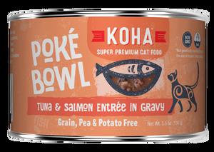 Koha Cat Poke Bowl Tuna & Salmon Entrée in Gravy Wet Cat Food, 5.5-oz, case of 24