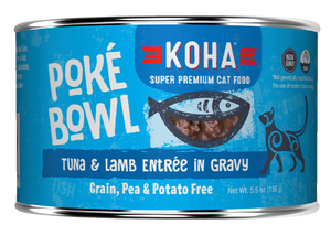 Koha Cat Poke Bowl Tuna & Lamb Entrée in Gravy Wet Cat Food, 5.5-oz, case of 24