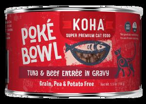 Koha Cat Poke Bowl Tuna & Beef Entrée in Gravy Wet Cat Food, 5.5-oz