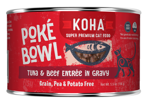 Koha Cat Poke Bowl Tuna & Beef Entrée in Gravy Wet Cat Food, 5.5-oz, case of 24