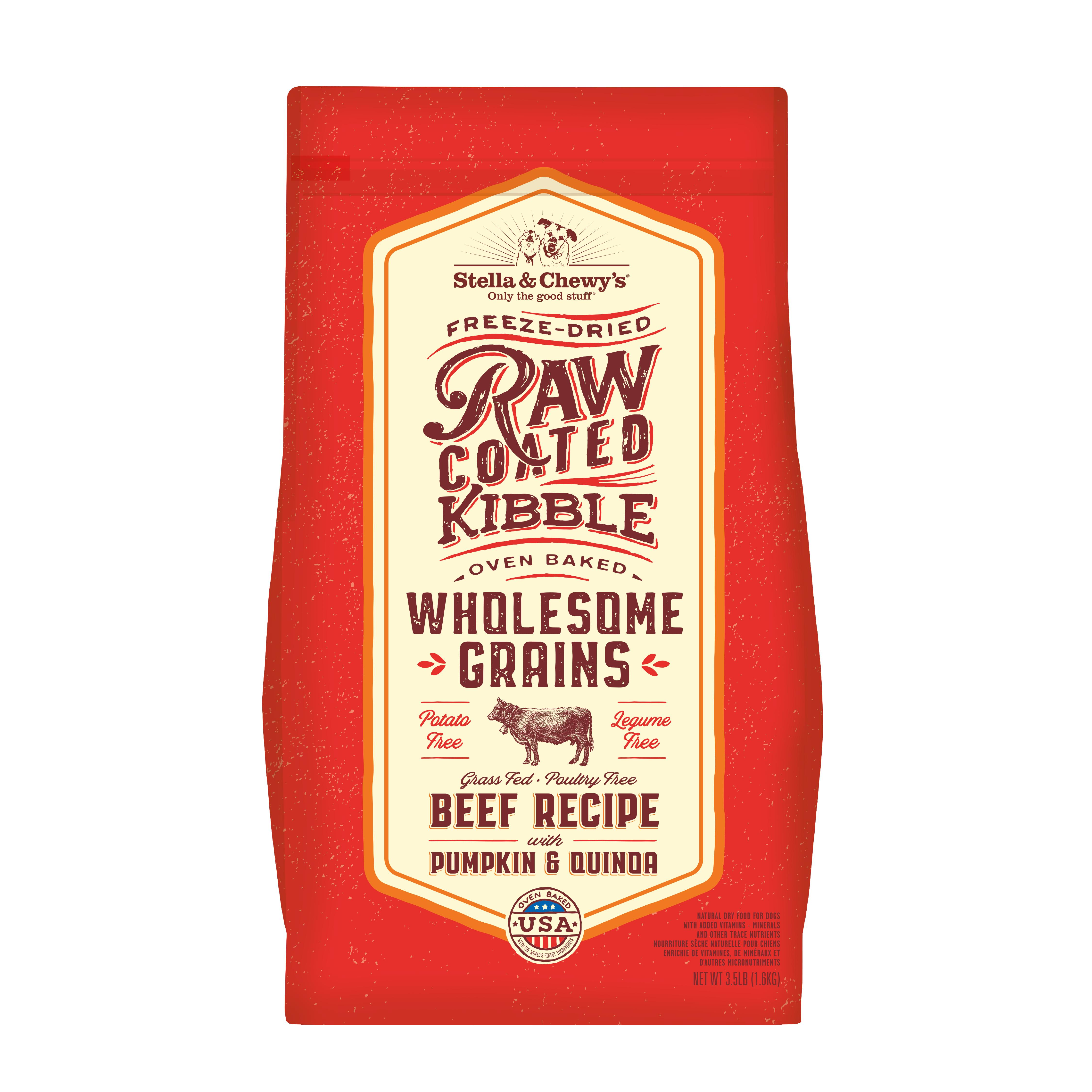 Stella & Chewy's Raw Coated Kibble Wholesome Grains Beef, Pumpkin & Quinoa Dry Dog Food, 3.5-lb