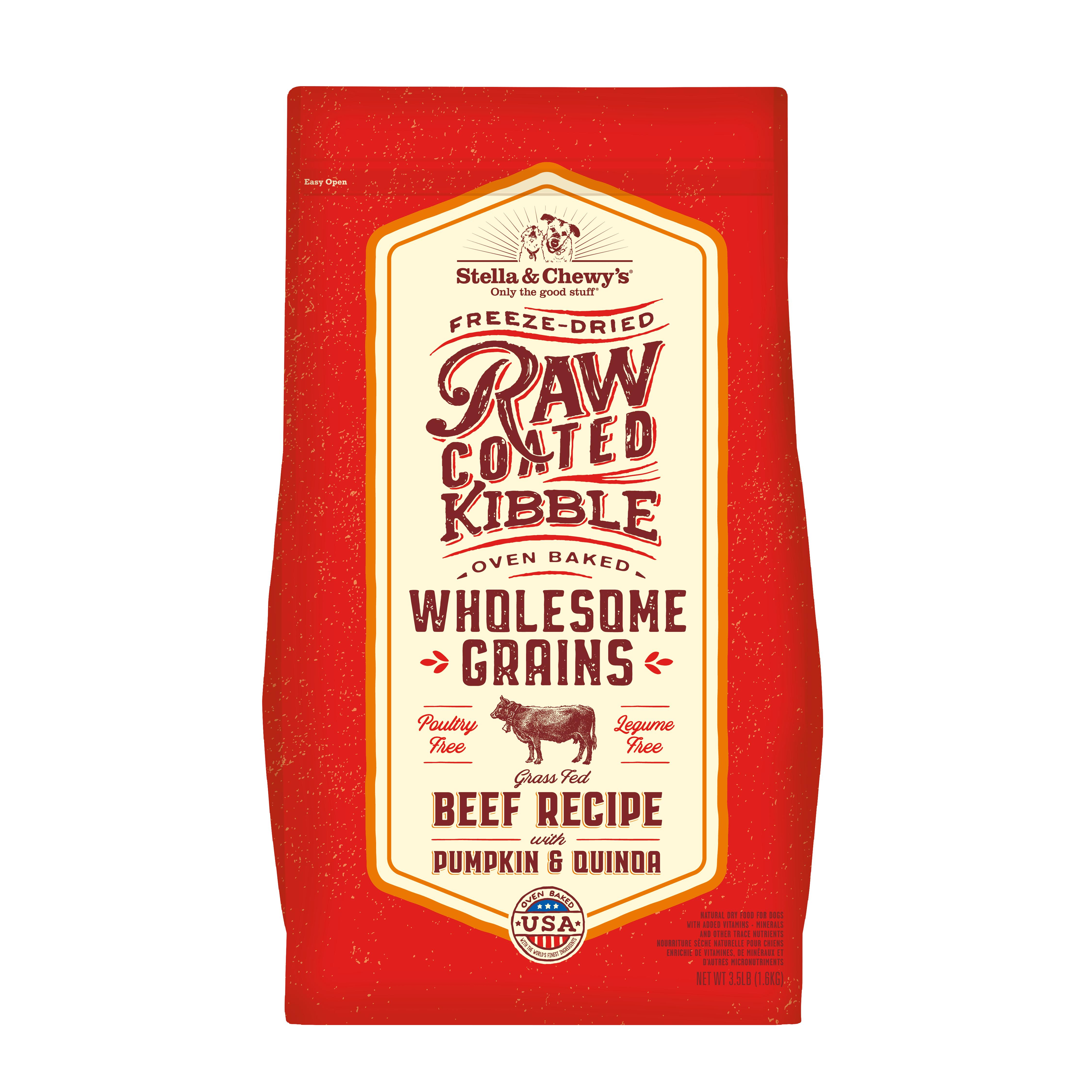Stella & Chewy's Raw Coated Kibble Wholesome Grains Beef, Pumpkin & Quinoa Dry Dog Food, 22-lb
