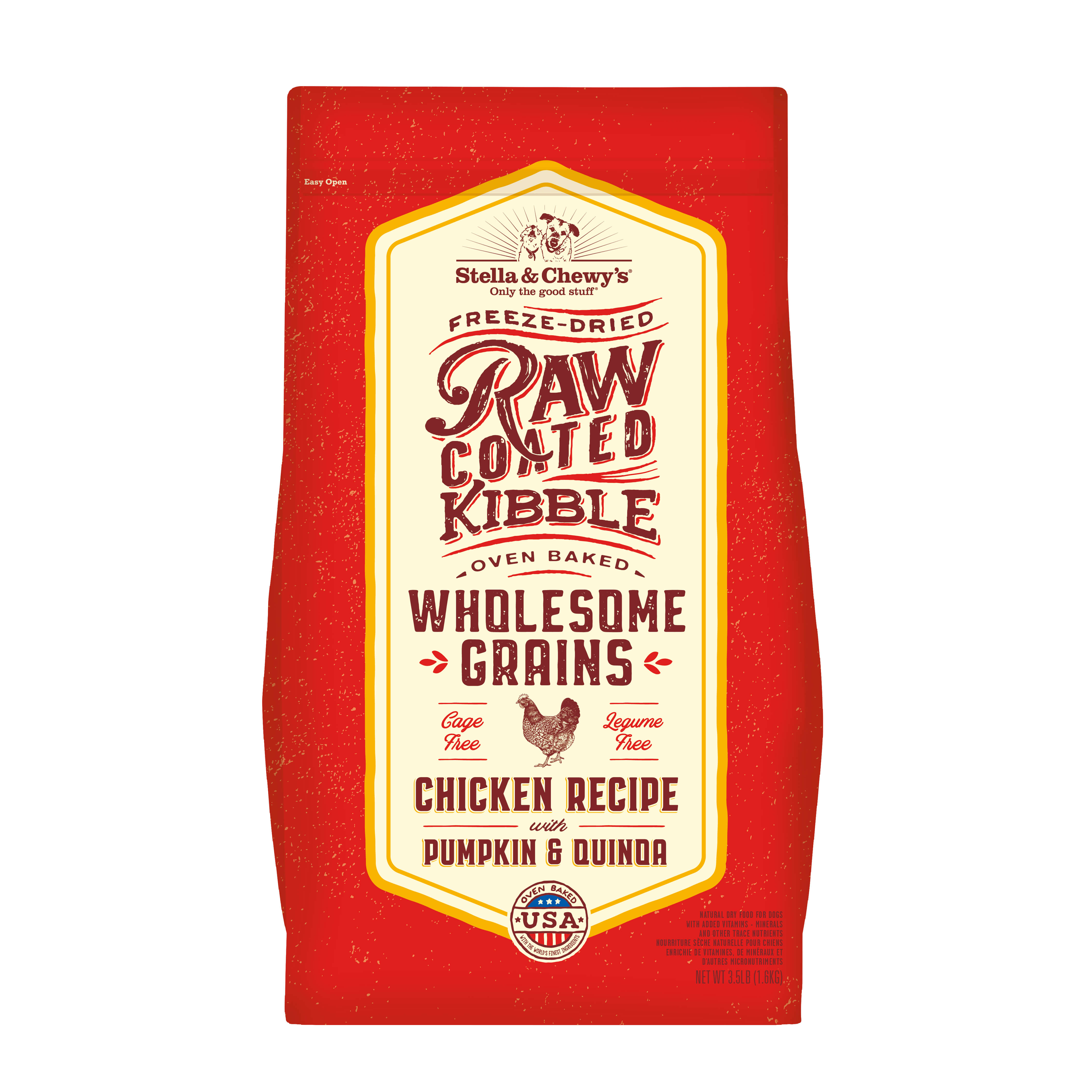 Stella & Chewy's Raw Coated Kibble with Wholesome Grains Chicken, Pumpkin & Quinoa Dry Dog Food, 3.5-lb