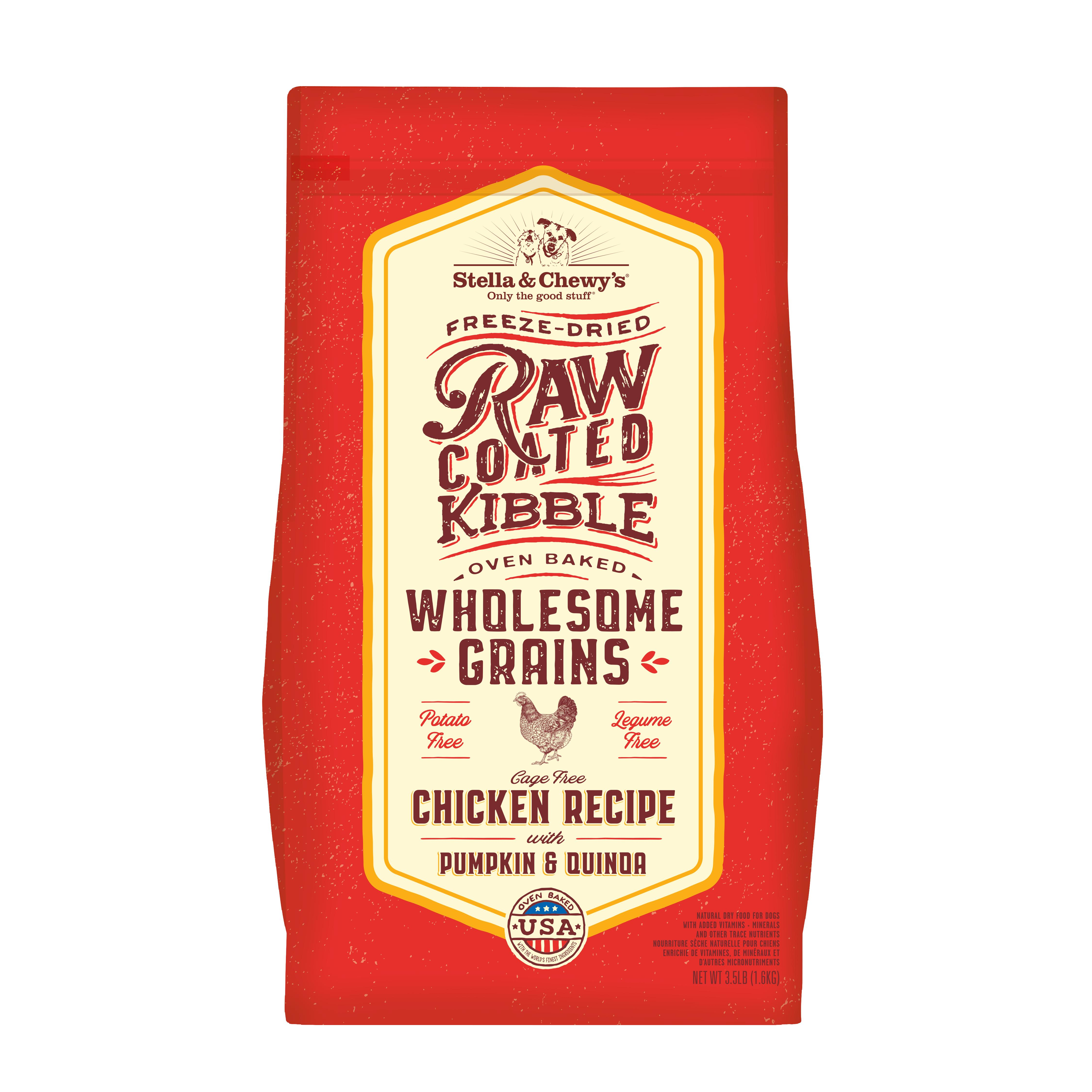 Stella & Chewy's Raw Coated Kibble Wholesome Grains Chicken, Pumpkin & Quinoa Dry Dog Food, 3.5-lb