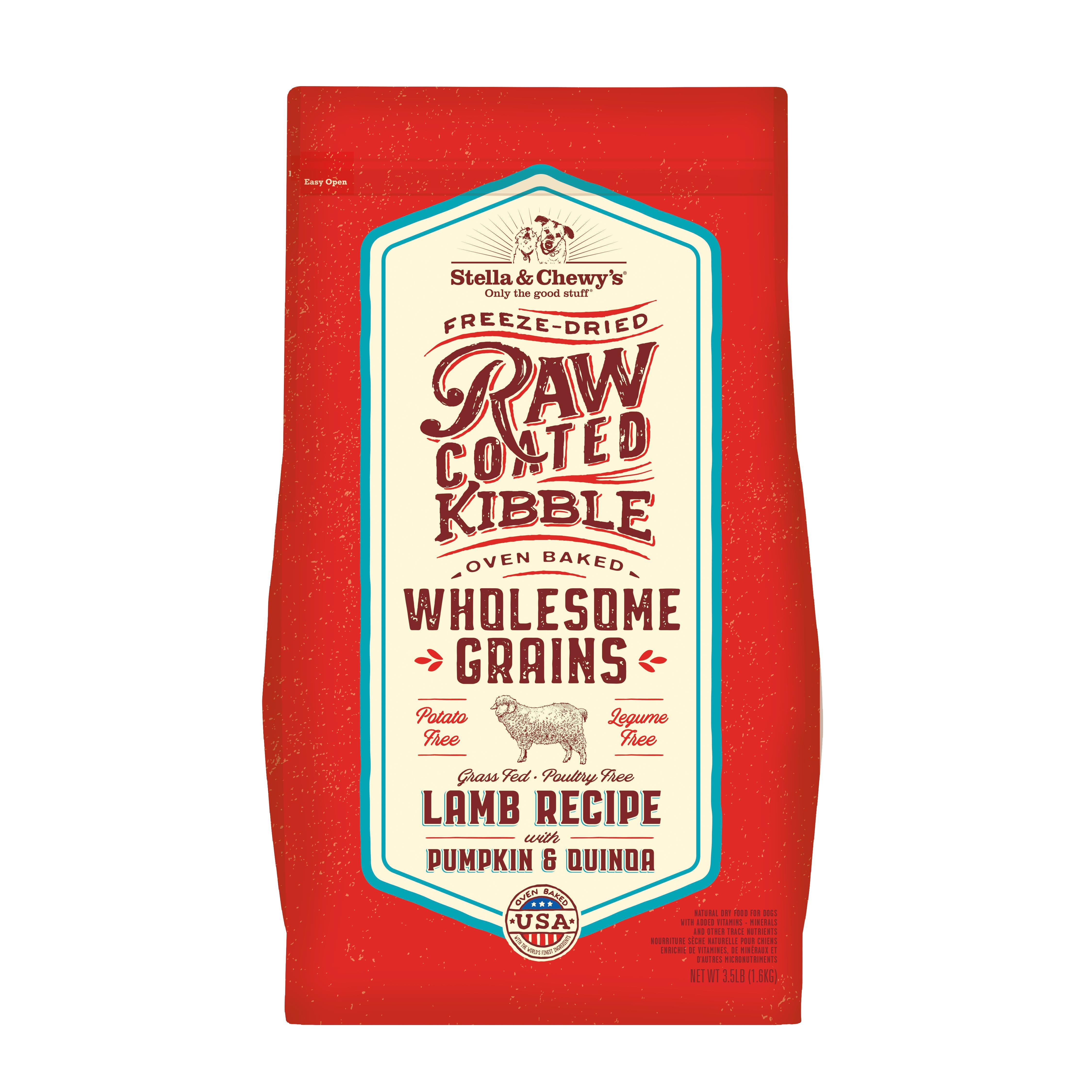 Stella & Chewy's Raw Coated Kibble Wholesome Grains Lamb, Pumpkin & Quinoa Dry Dog Food, 22-lb