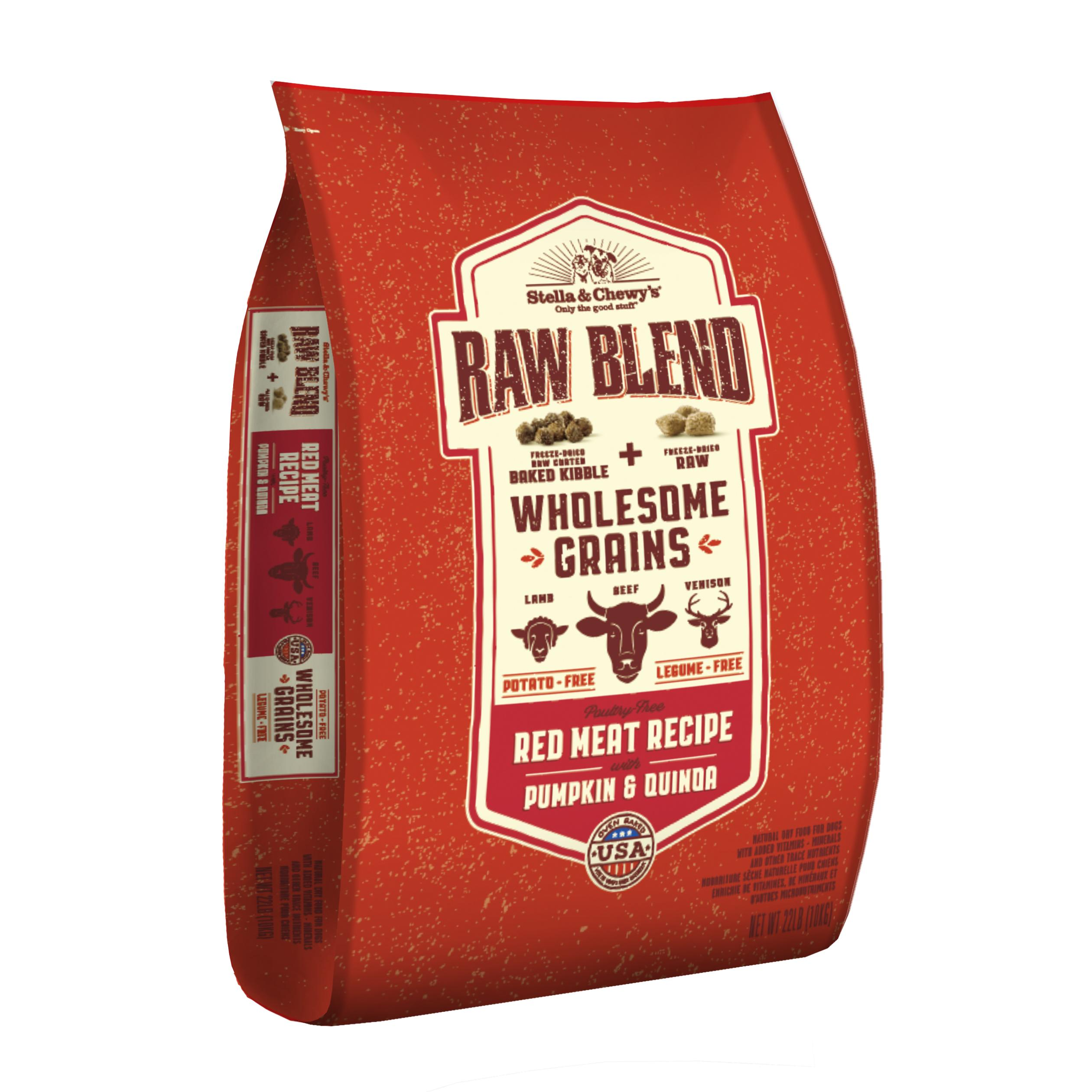 Stella & Chewy's Raw Blend Wholesome Grains Red Meat Recipe with Pumpkin & Quinoa Dry Dog Food, 22-lb