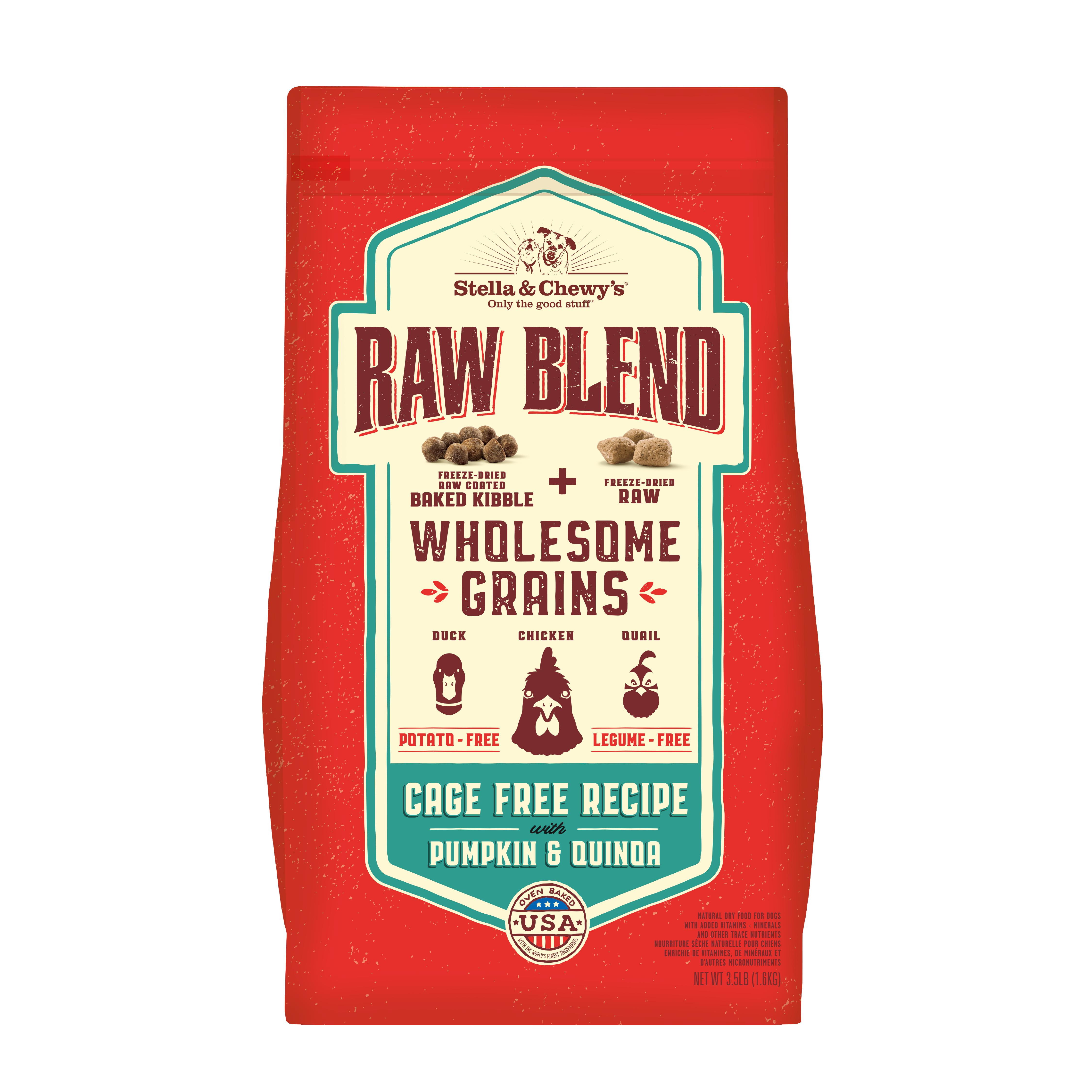 Stella & Chewy'sRaw Blend Wholesome Grains Cage-Free Recipe with Pumpkin & Quinoa Dry Dog Food, 3.5-lb