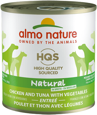 Almo Nature HQS Natural Chicken & Tuna with Vegetables Canned Dog Food, 9.87 oz