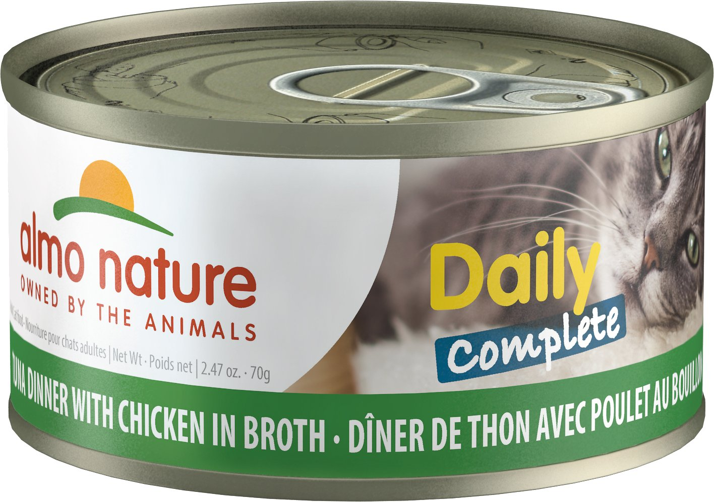 Almo Nature Daily Complete Tuna Dinner with Chicken in Broth Grain-Free Wet Cat Food, 2.47-oz