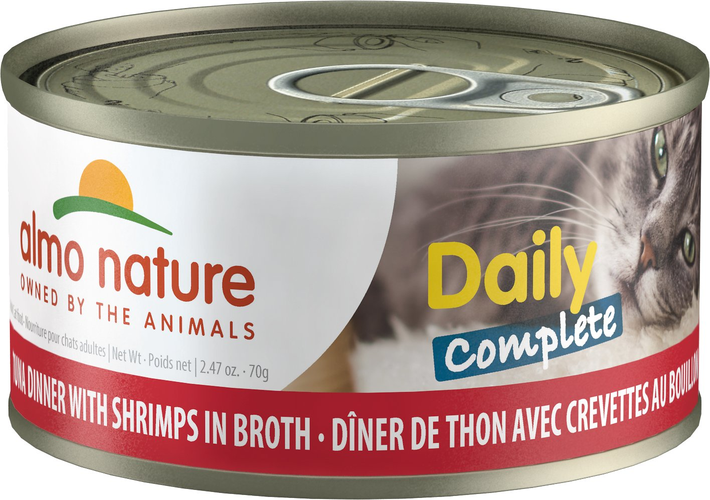 Almo Nature Daily Complete Tuna Dinner with Shrimps in Broth Grain-Free Wet Cat Food, 2.47-oz