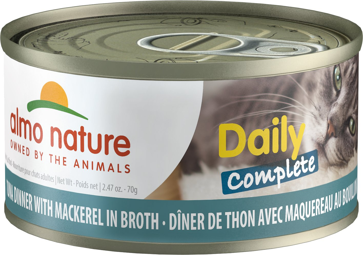 Almo Nature Daily Complete Tuna Dinner with Mackerel in Broth Grain-Free Wet Cat Food, 2.47-oz