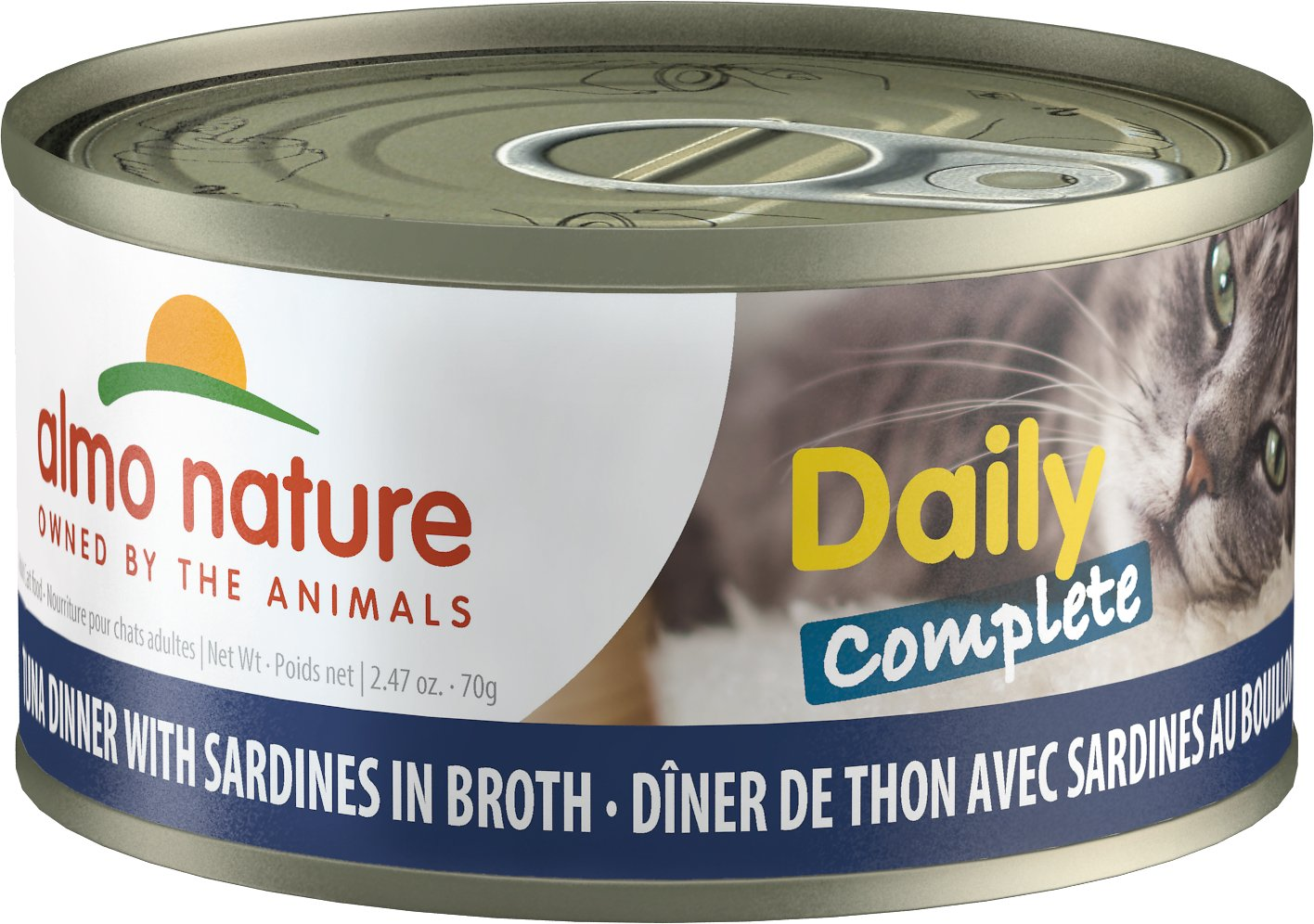 Almo Nature Daily Complete Tuna Dinner with Sardines in Broth Grain-Free Wet Cat Food, 2.47-oz