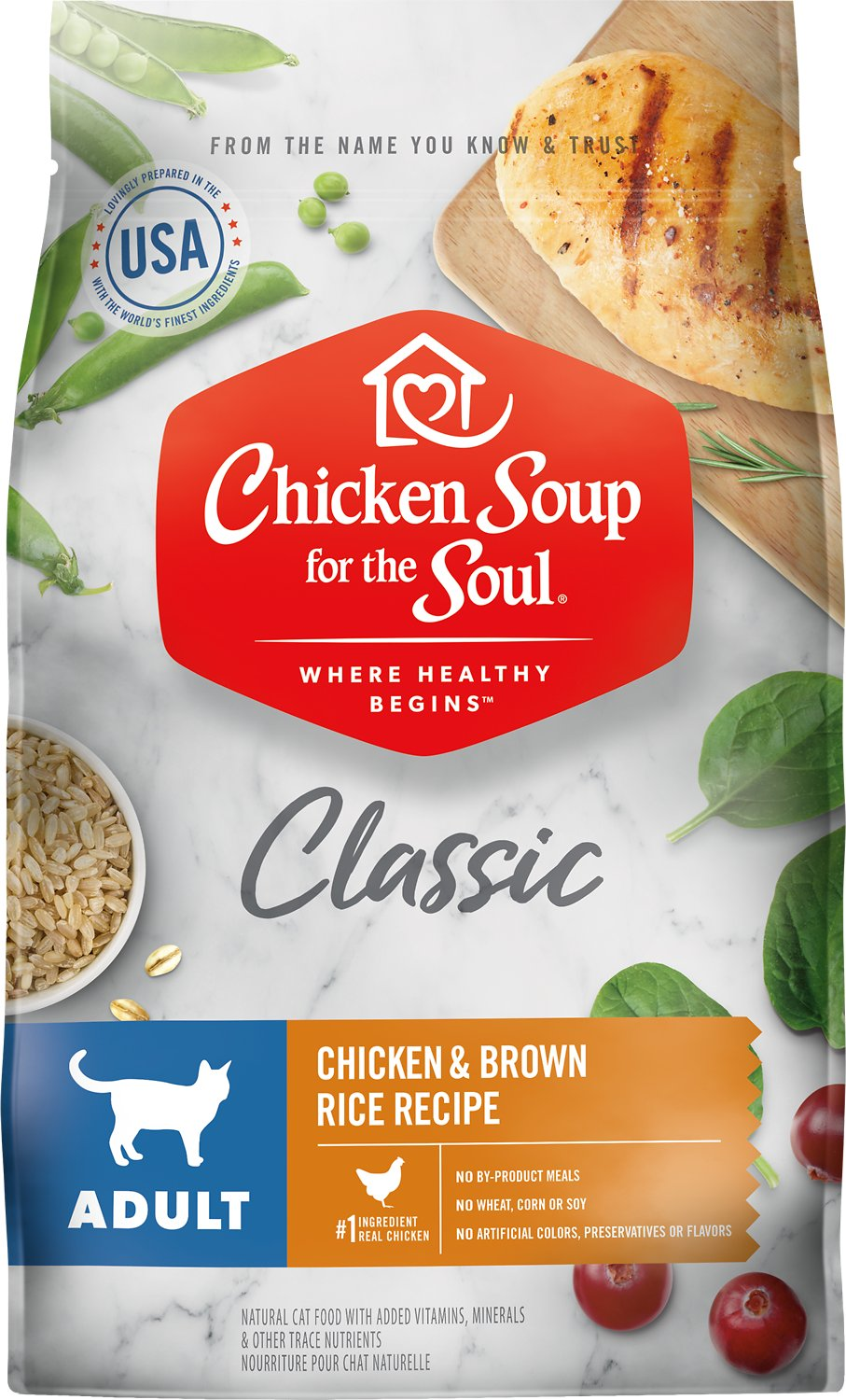 Chicken Soup for the Soul Adult Chicken & Brown Rice Recipe Dry Cat Food, 4.5-lb