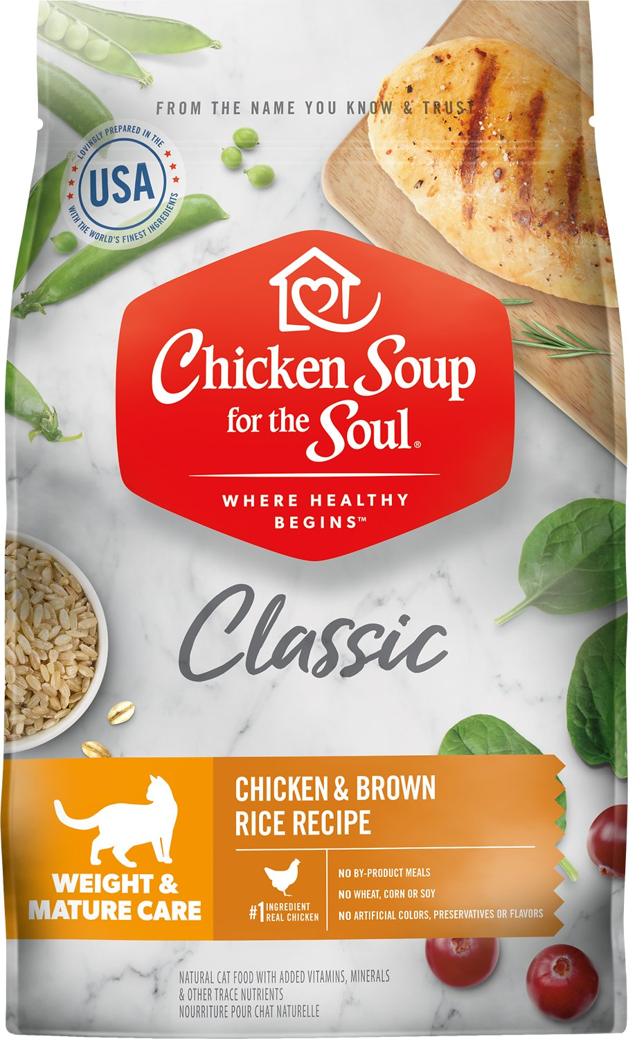 Chicken Soup for the Soul Weight & Mature Care Chicken & Brown Rice Recipe Dry Cat Food, 4.5-lb