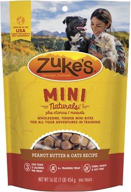 Zuke's Mini Naturals Peanut Butter & Oats Recipe Dog Treats, 1-lb bag