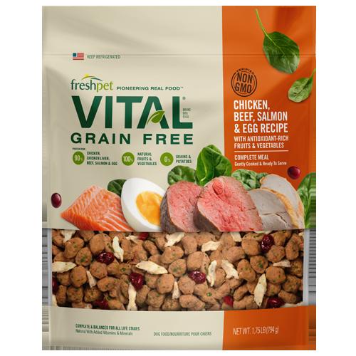 Freshpet Vital Chicken, Beef, Salmon & Egg Recipe Grain-Free Dry Dog Food, 1.75-lb