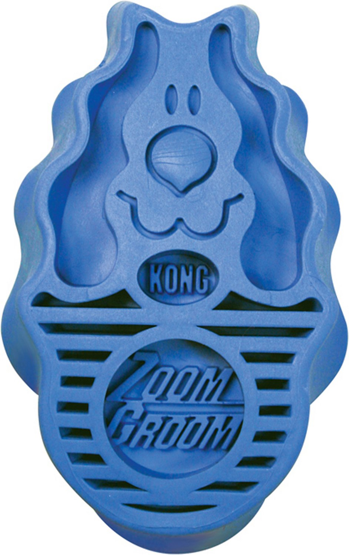 KONG Dog ZoomGroom Multi-Use Dog Brush, Puppy Boysenberry