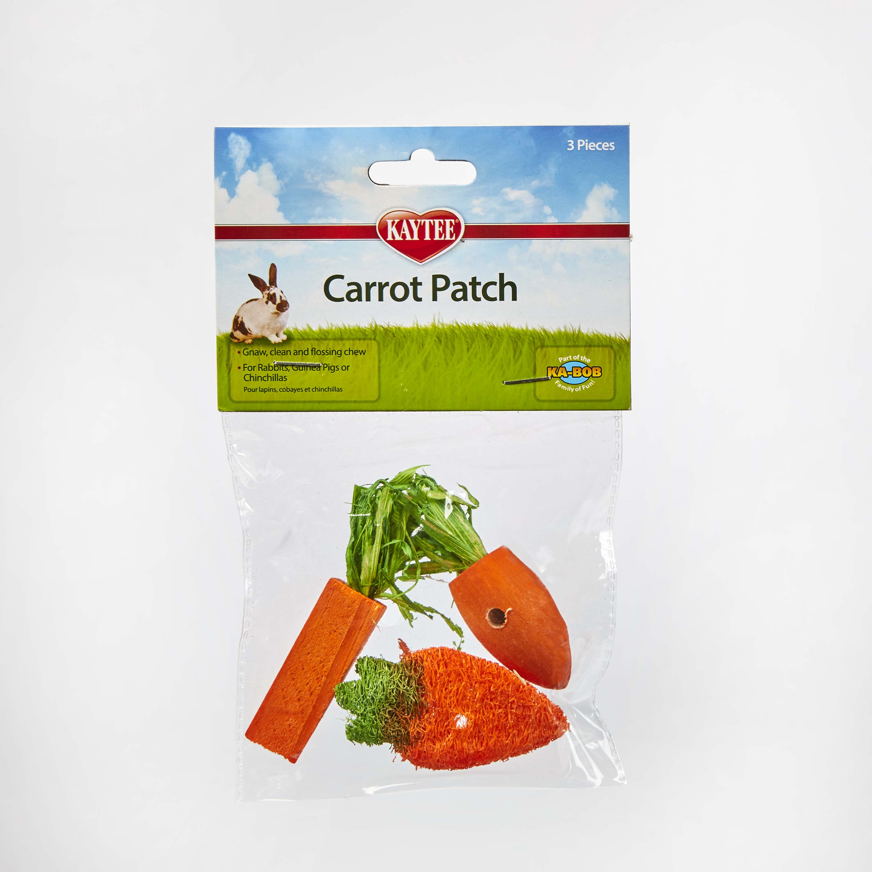 Kaytee Carrot Patch Variety Small Animal Chew Toy, 3-pk