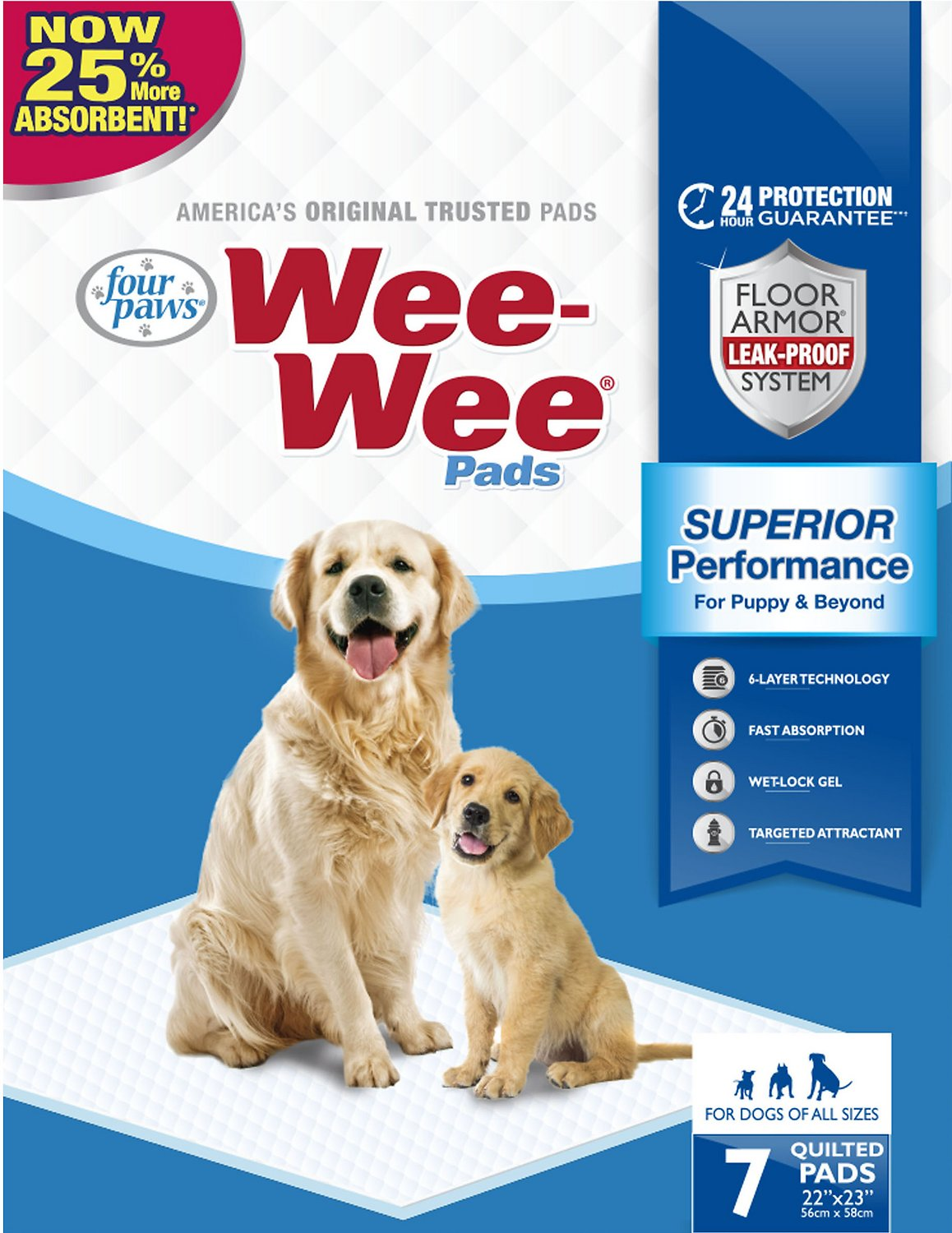 Wee-Wee Absorbent Dog Pads, 7-count