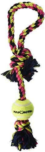 Mammoth Pet Flossy Chews Pull Tug with Tennis Ball Dog Toy, Medium, 20-in