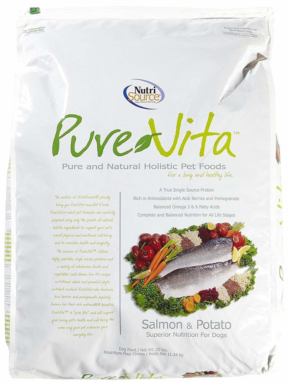 PureVita Salmon & Potato Formula Dry Dog Food, 25-lb