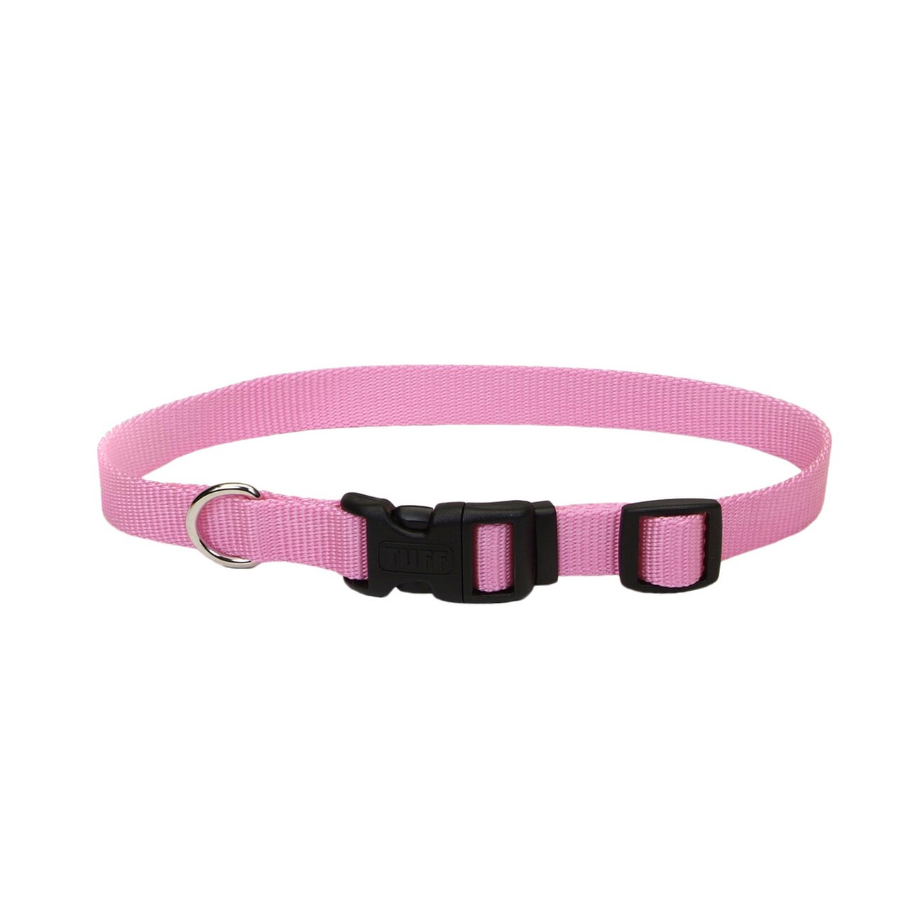 Coastal Adjustable Nylon Collar with Tuff Buckle for Dogs, Pink Bright, 3/4-in x 14-20-in