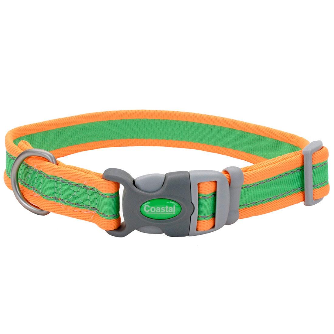 Coastal Pro Reflective Adjustable Dog Collar, Lime/Orange Image