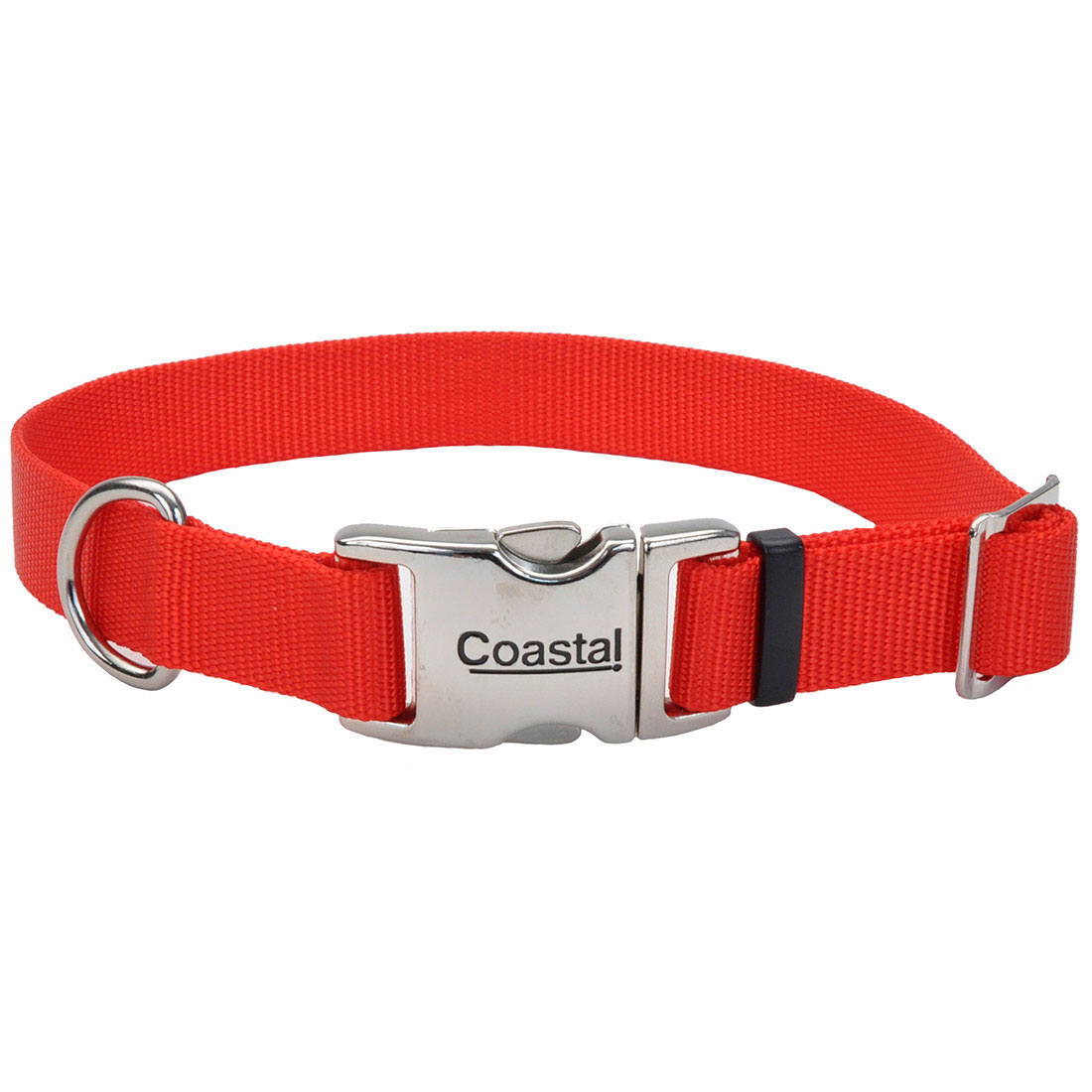 Coastal Adjustable Collar with Metal Buckle for Dogs, Pink Bright, 1-in x 18-26-in