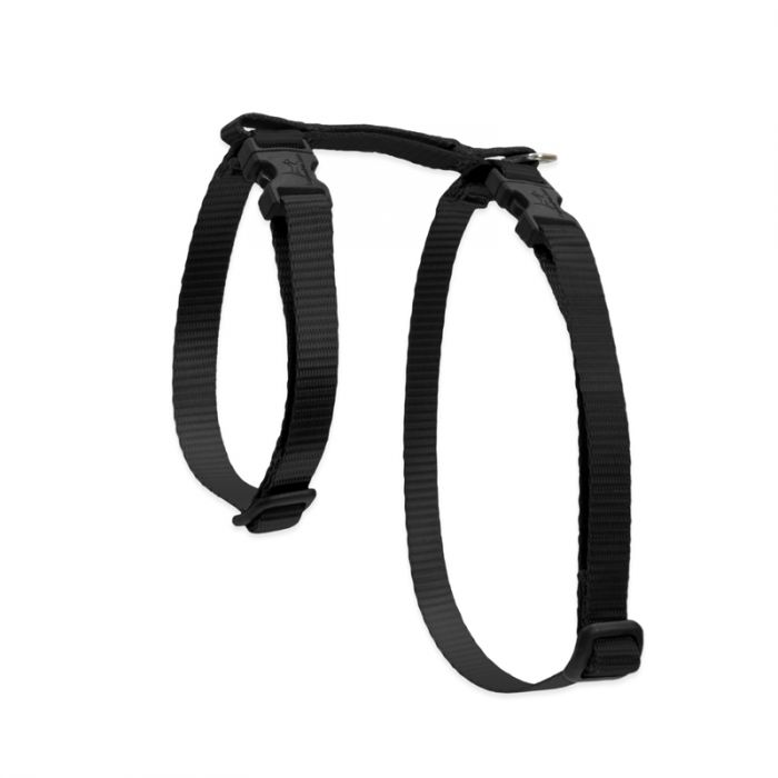Lupine Pet Basic Solids H-Style Cat Harness, Black, 1/2-in x 12-20-in
