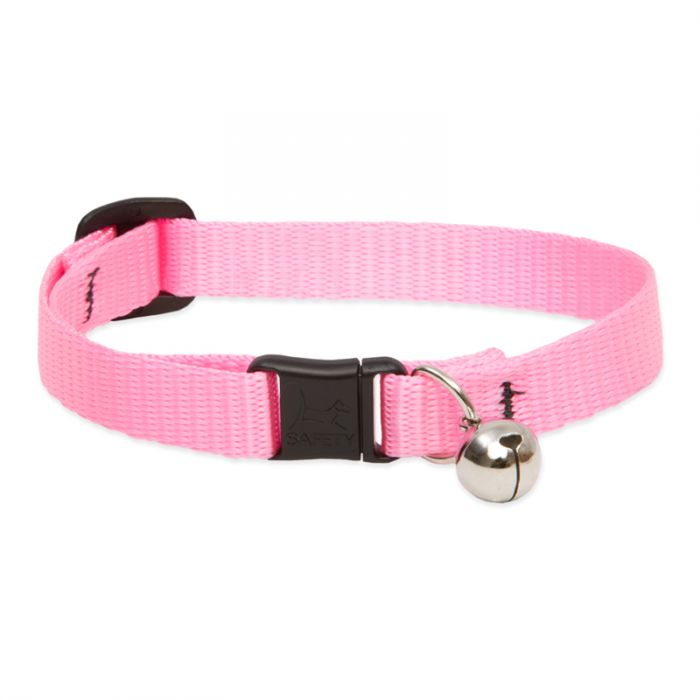 Lupine Pet Basic Solids Safety with Bell Cat Collar, Pink, 8-12-in