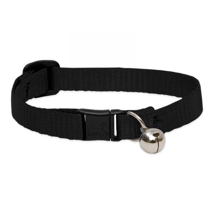 Lupine Pet Basic Solids Safety with Bell Cat Collar, Black, 8-12-in