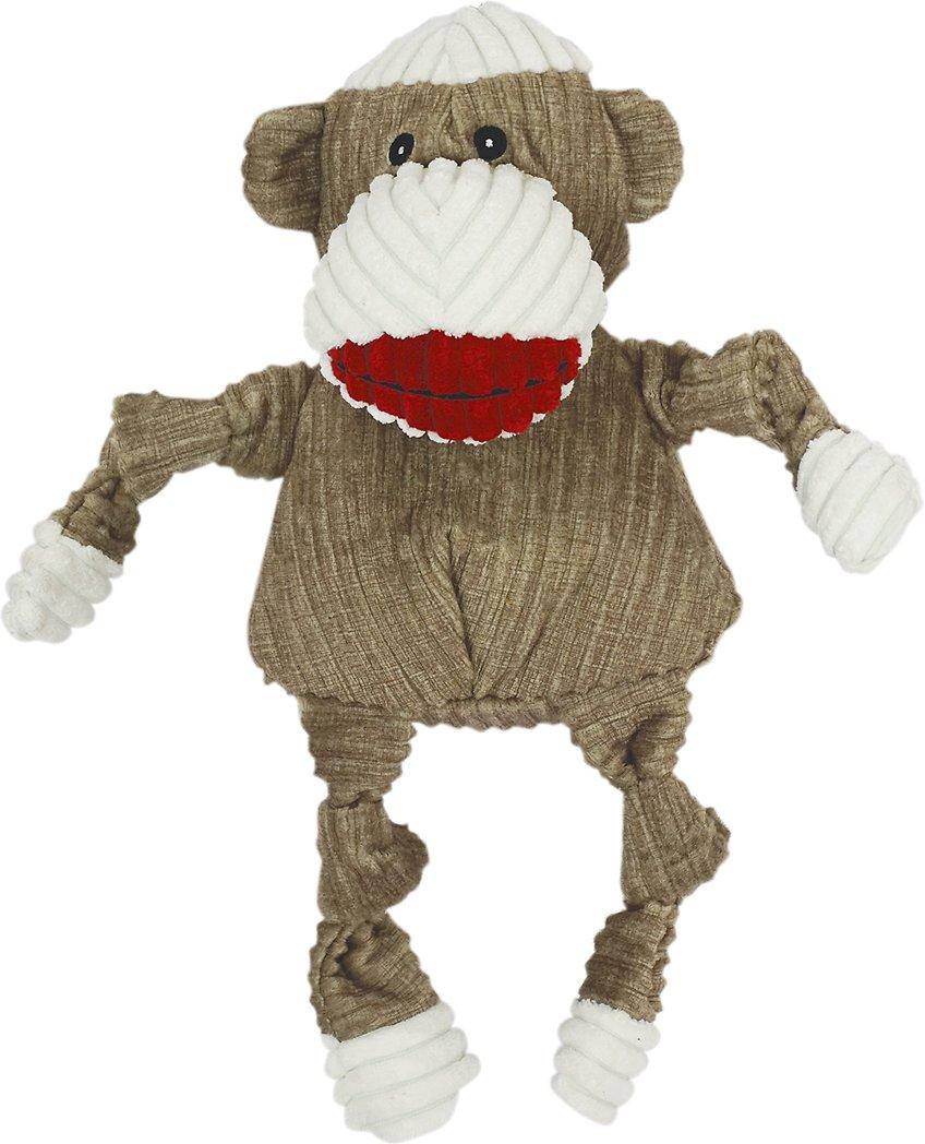 HuggleHounds Knottie Sock Monkey Dog Toy, Small