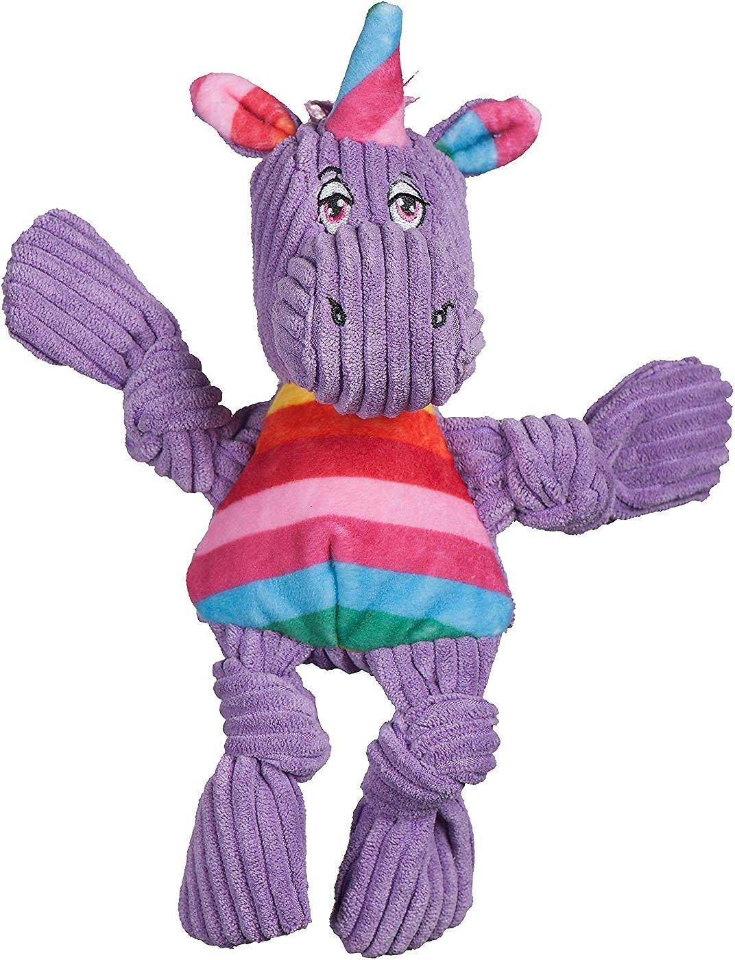 HuggleHounds Knottie Rainbow Unicorn Dog Toy, Small