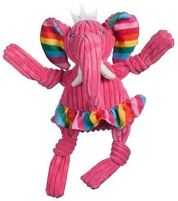 HuggleHounds Knottie Rainbow Elephant Plush Dog Toy, Small