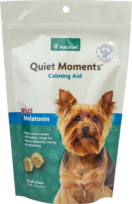 NaturVet Quiet Moments Calming Aid Plus Melatonin Dog Soft Chews, 65-count
