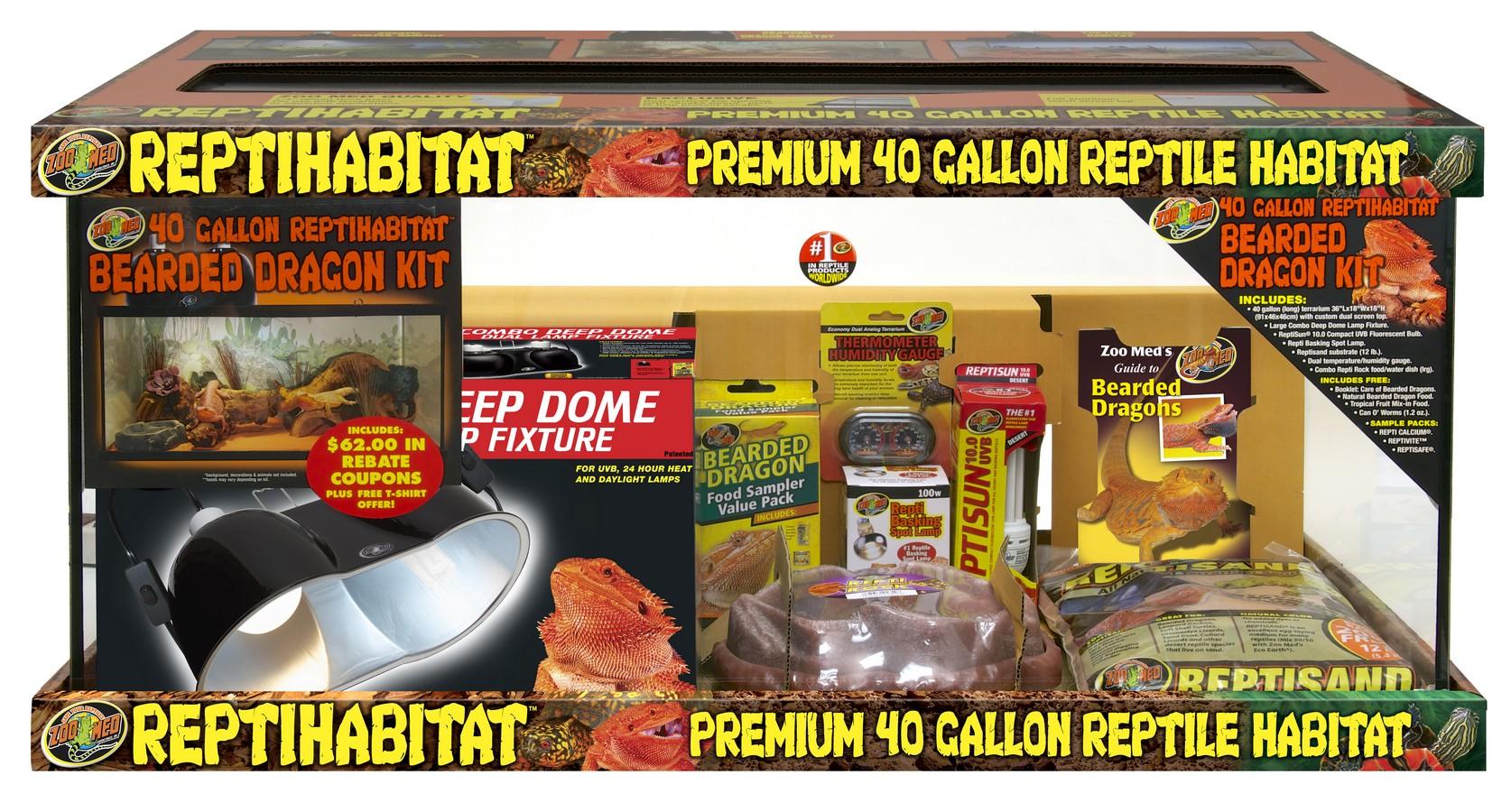 Zoo Med Reptihabitat Premium Reptile Habitat Bearded Dragon Kit, 40-gallon