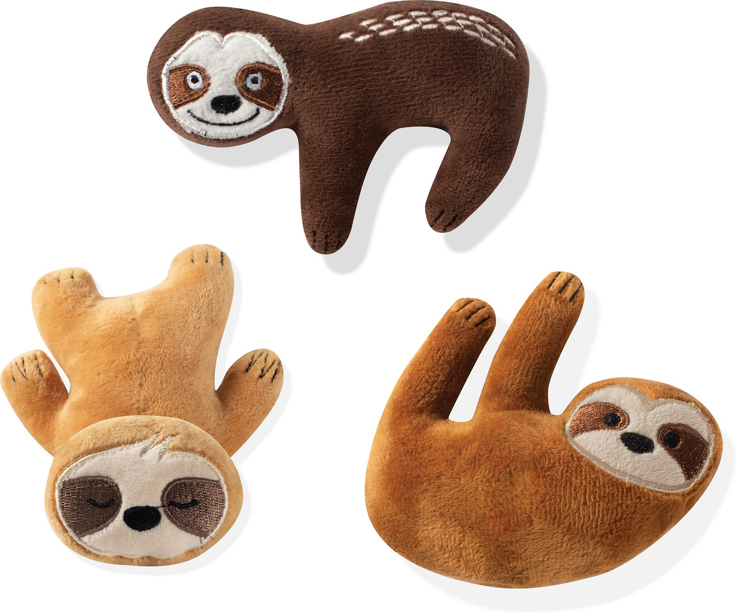 Pet Shop by Fringe Studio Hangin with the Homies Sloth Mini Dog Toys, 3-count