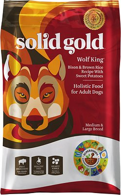 Solid Gold Wolf King Bison & Brown Rice Recipe with Sweet Potatoes Adult Dry Dog Food, 12-lb