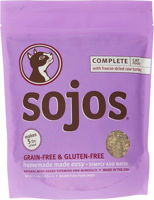 Sojos Complete Turkey Grain-Free Freeze-Dried Cat Food, 1-lb bag