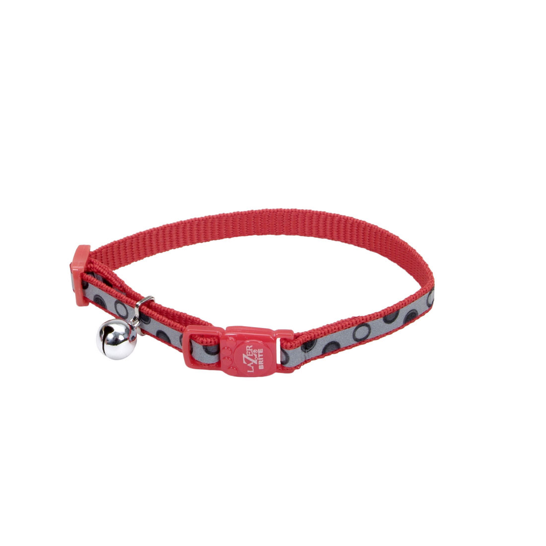 Lazer Brite Reflective Adjustable Breakaway Cat Collar, Red Bubbles, 3/8-in (Size:  3/8-in, Color:  Red Bubbles) Image