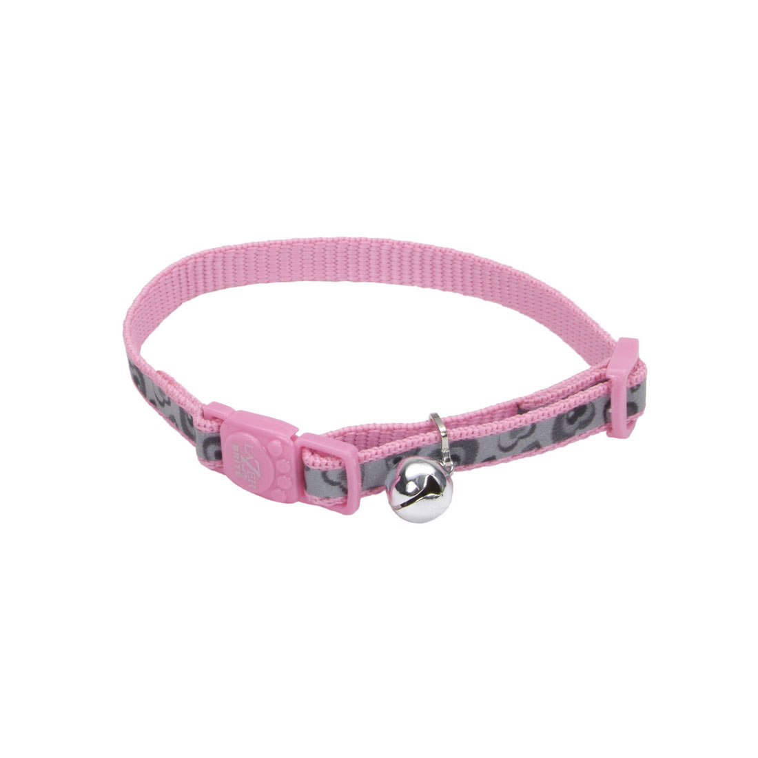 Lazer Brite Reflective Adjustable Breakaway Cat Collar, Pink New Hearts, 3/8-in