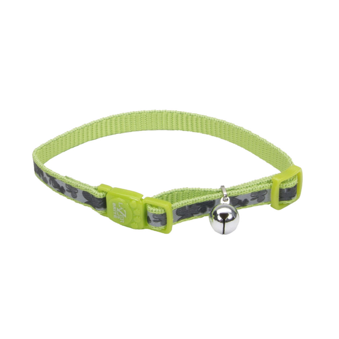 Lazer Brite Reflective Adjustable Breakaway Cat Collar, Shamrocks, 3/8-in