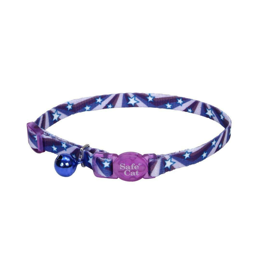 Coastal Fashion Breakaway Cat Collar, Purple Stars, 3/8-in