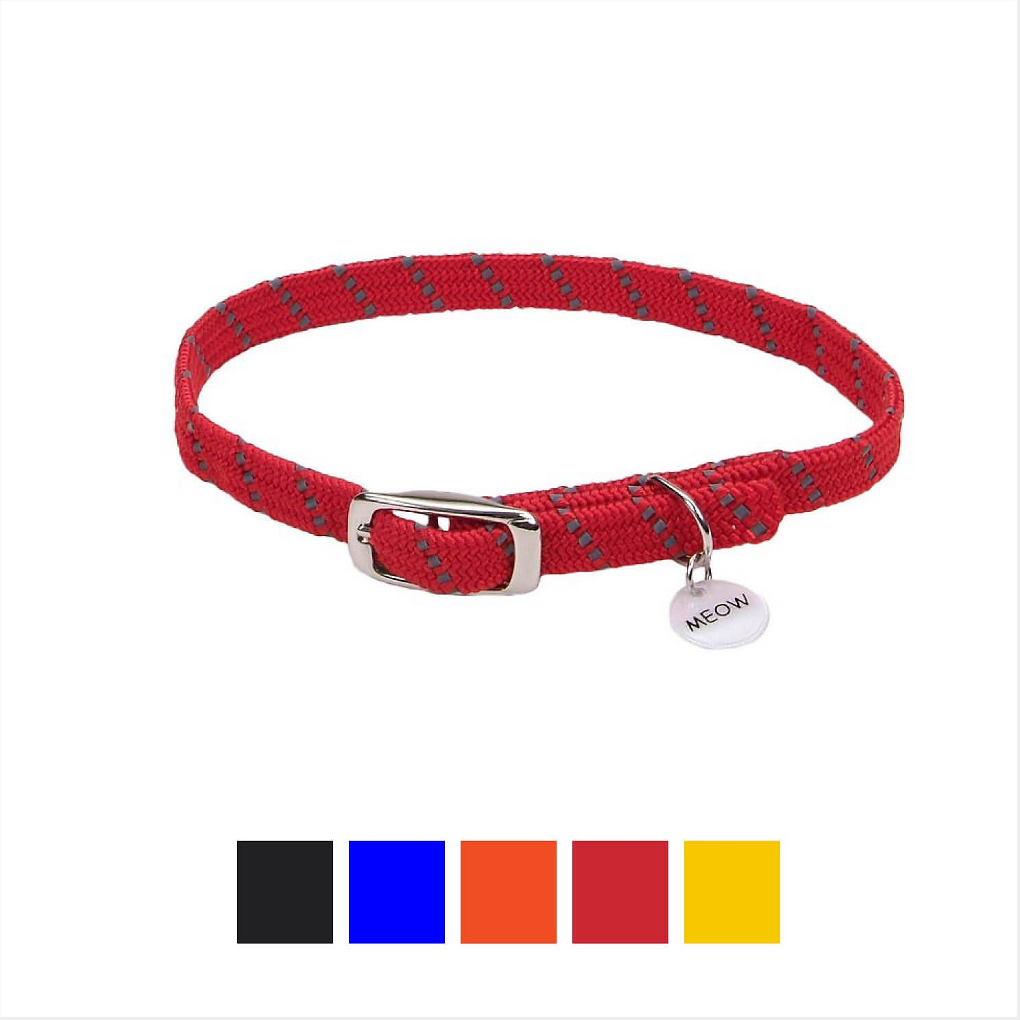 ElastaCat Reflective Safety Stretch Cat Collar, Red, 10-in (Size:  10-in, Color:  Red) Image