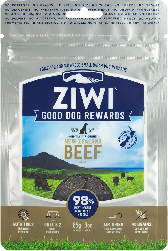 Ziwi Peak Dog Good Dog Rewards Beef Recipe Air-Dried Dog Treats, 3-oz bag (Weights: 3 ounces) Image