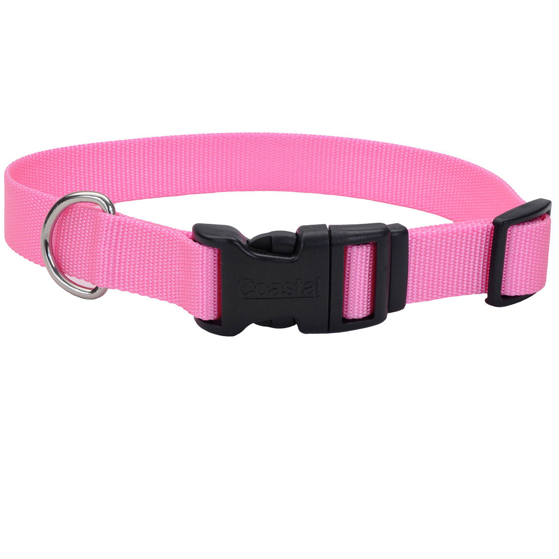 Coastal Adjustable Nylon Collar with Tuff Buckle for Dogs, Pink Bright, 1-in Nylon x 14-in-20-in Neck Girth