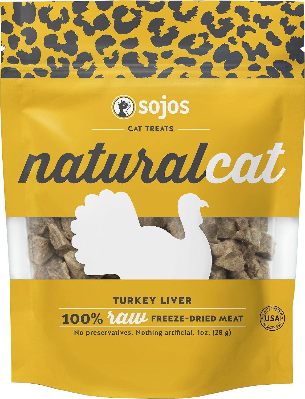 Sojos NaturalCat Turkey Liver Freeze-Dried Cat Treats, 1-oz bag