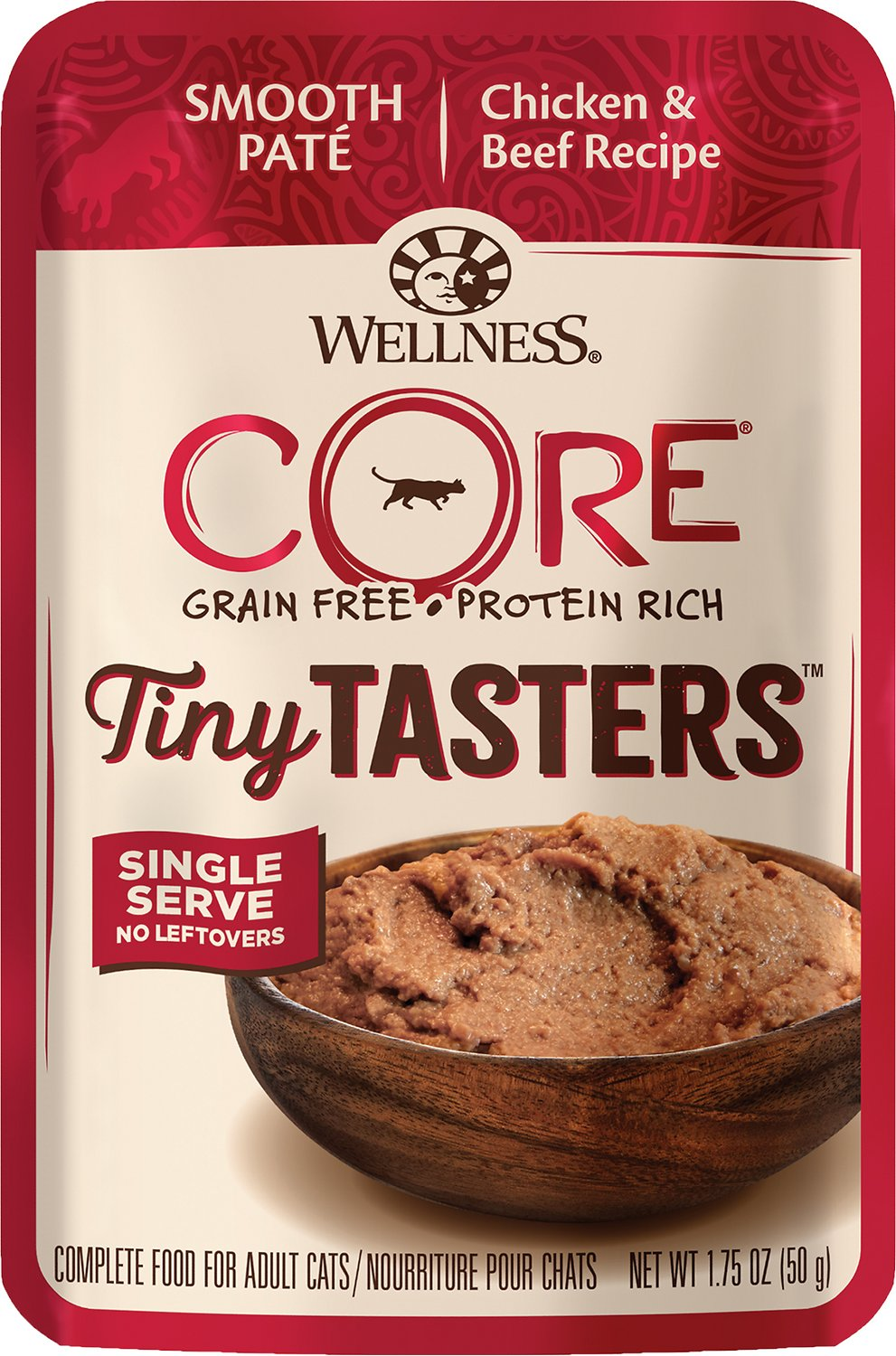 Wellness CORE Tiny Tasters Chicken & Beef Pate Grain-Free Cat Food Pouches, 1.75-oz