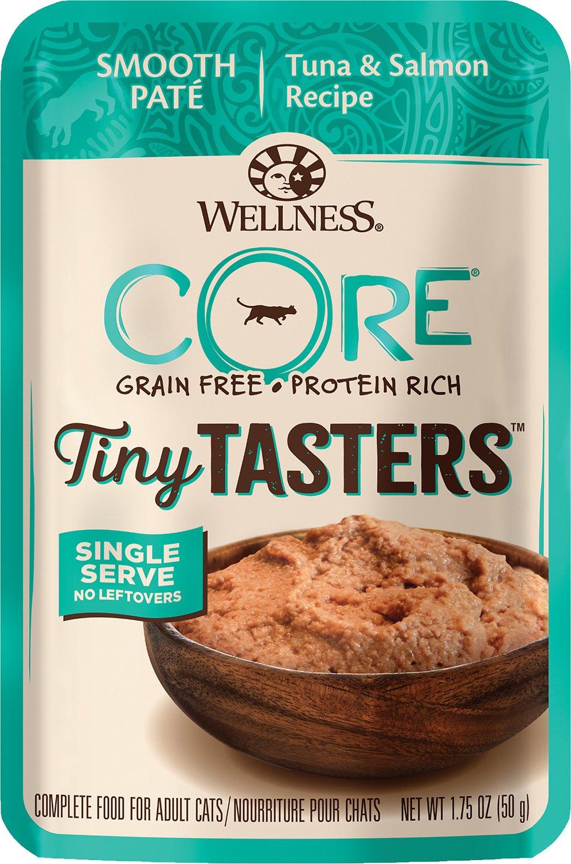 Wellness CORE Tiny Tasters Tuna & Salmon Pate Grain-Free Cat Food Pouches, 1.75-oz